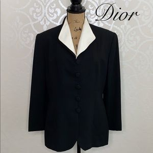 DIOR SIZE 12 BLACK BLAZER WITH REMOVABLE COLLAR